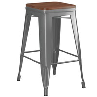 Lancaster Table & Seating Alloy Series Charcoal Metal Indoor Industrial Cafe Counter Height Stool with Walnut Wood Seat