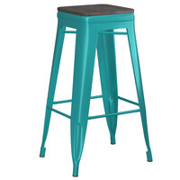 Lancaster Table & Seating Alloy Series Teal Metal Indoor Industrial Cafe Bar Height Stool with Black Wood Seat