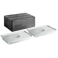CaterGator Dash Black Full Size 8 inch Deep Flip Down Top Loader EPP Insulated Food Pan Carrier with 2 Full Size 2 1/2 inch Deep Stainless Steel Hotel Pans and Lids