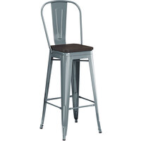 Lancaster Table & Seating Alloy Series Charcoal Metal Indoor Industrial Cafe Bar Height Stool with Vertical Slat Back and Black Wood Seat