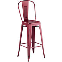 Lancaster Table & Seating Alloy Series Distressed Sangria Metal Indoor / Outdoor Industrial Cafe Barstool with Vertical Slat Back and Drain Hole Seat