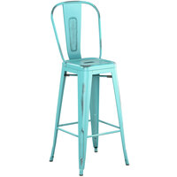 Lancaster Table & Seating Alloy Series Distressed Seafoam Metal Indoor / Outdoor Industrial Cafe Barstool with Vertical Slat Back and Drain Hole Seat