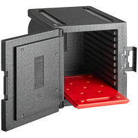 CaterGator Dash Black EPP End Loading Insulated Food Pan Carrier with Red Hot Board - 5 Pan Capacity