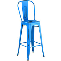 Lancaster Table & Seating Alloy Series Distressed Blue Metal Indoor / Outdoor Industrial Cafe Barstool with Vertical Slat Back and Drain Hole Seat