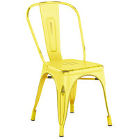 Lancaster Table & Seating Alloy Series Distressed Yellow Metal Indoor / Outdoor Industrial Cafe Chair with Vertical Slat Back and Drain Hole Seat