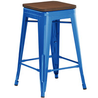 Lancaster Table & Seating Alloy Series Blue Metal Indoor Industrial Cafe Counter Height Stool with Walnut Wood Seat