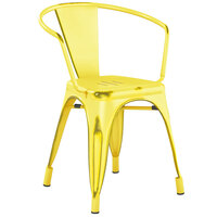Lancaster Table & Seating Alloy Series Distressed Yellow Metal Indoor / Outdoor Industrial Cafe Arm Chair