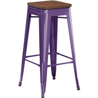 Lancaster Table & Seating Alloy Series Purple Metal Indoor Industrial Cafe Bar Height Stool with Walnut Wood Seat