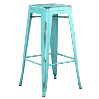Lancaster Table & Seating Alloy Series Distressed Seafoam Stackable Metal Indoor / Outdoor Industrial Barstool with Drain Hole Seat