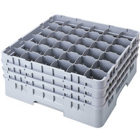 Cambro 36S958151 Soft Gray Camrack Customizable 36 Compartment 10 1/8 inch Glass Rack