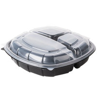 10 inch x 10 inch x 3 inch Large 3 Compartment Microwaveable Plastic Hinged Take-Out Container 148 / Case