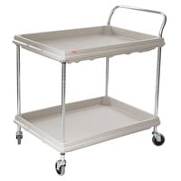 Metro BC2636-2DG Gray Utility Cart with Two Deep Ledge Shelves - 38 3/4 inch x 27 inch