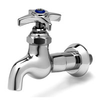 T&S B-0716 Single Sink Faucet with 1/2 inch NPT Male Inlet, 4 Arm Handle, and Blue Index