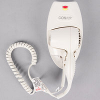 Conair 136W Mini Turbo White Wall Mount Direct Wire Hair Dryer with Nightlight - 1600W