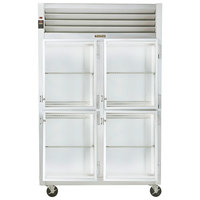 Traulsen G21002 2 Section Glass Half Door Reach In Refrigerator - Right / Right Hinged Doors