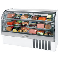 Beverage Air CDR6/1-W-20 White Finish Curved Glass Refrigerated Bakery Display Case 73 inch - 27.6 Cu. Ft.