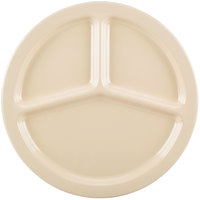 Carlisle KL10225 Kingline 10 inch Tan 3-Compartment Plate - 48/Case