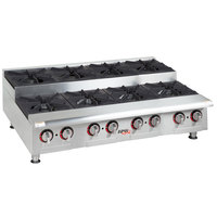 APW Wyott HHPS-848 Natural Gas Heavy Duty 8 Burner Step-Up Countertop 48 inch Range / Hot Plate - 240,000 BTU