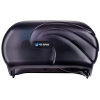 San Jamar R3690TBK Versatwin Ocean Double Roll Toilet Tissue Dispenser - Black Pearl
