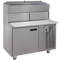 Delfield 18648PDLV 48 inch One Door Refrigerated Pizza Prep Table with Dual LiquiTec Raised Rails