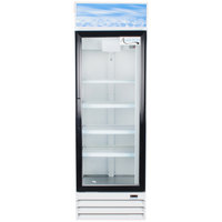 Avantco GDC15 26 inch Swing Glass Door White Merchandiser Refrigerator with LED Lighting