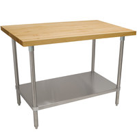 Advance Tabco H2S-244 Wood Top Work Table with Stainless Steel Base and Undershelf - 24 inch x 48 inch