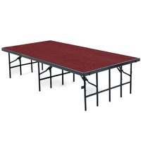 National Public Seating S3624C Single Height Portable Stage with Red Carpet - 36 inch x 96 inch x 24 inch