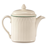 Homer Laughlin 1430-0326 Green Jade Gothic Off White 19 oz. Beverage Server with Lid - 12/Case