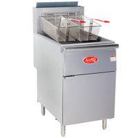Avantco FF518 Natural Gas 70-100 lb. Stainless Steel Tube Floor Fryer