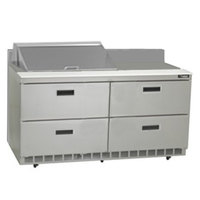 Delfield STD4460N-8 60 inch 4 Drawer Refrigerated Sandwich Prep Table with 4 inch Backsplash