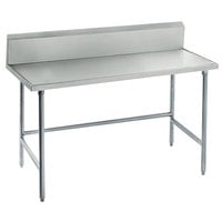 Advance Tabco TVKG-244 24 inch x 48 inch 14 Gauge Open Base Stainless Steel Commercial Work Table with 10 inch Backsplash