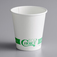 EcoChoice 8 oz. White Compostable Paper Hot Cup - 1000/Case