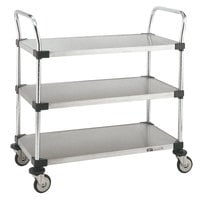 Metro MW205 Super Erecta 18 inch x 36 inch x 38 inch Three Shelf Standard Duty Stainless Steel Utility Cart