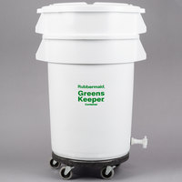 Rubbermaid FG263600WHT Brute GreensKeeper 32 Gallon Vegetable Crisper Container with Lid and Dolly