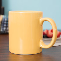 Tuxton BSM-1202 DuraTux 12 oz. Saffron China C-Handle Mug - 24/Case