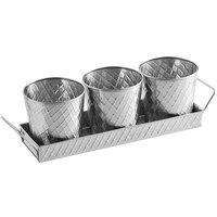 Tablecraft 10486 Lattice 14 1/2 inch x 4 1/4 inch Stainless Steel Snack Set