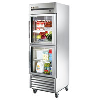 True TS-23G-2 Stainless Steel Single Section Glass Half Door Reach In Refrigerator - 19.5 Cu. Ft.