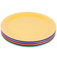 GET NP-9-MIX Diamond Mardi Gras 9 inch Narrow Rim Round Melamine Plate, Assorted Colors - 24/Case