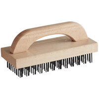 Choice 9 3/8 inch x 3 3/4 inch Wooden Butcher Block Brush with Steel Bristles