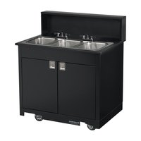 Vollrath 75673 BLACK Portable Triple Bowl Hand Sink Cart 120V