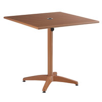 Lancaster Table & Seating 32 inch x 32 inch Brown Powder-Coated Aluminum Dining Height Outdoor Table with Umbrella Hole