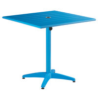 Lancaster Table & Seating 32 inch x 32 inch Blue Powder-Coated Aluminum Dining Height Outdoor Table with Umbrella Hole