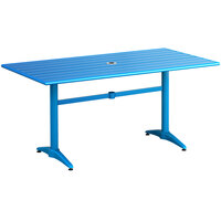 Lancaster Table & Seating 32 inch x 60 inch Blue Powder-Coated Aluminum Dining Height Outdoor Table with Umbrella Hole