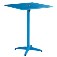 Lancaster Table & Seating 32 inch x 32 inch Blue Powder-Coated Aluminum Bar Height Outdoor Table with Umbrella Hole