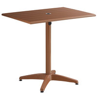 Lancaster Table & Seating 24 inch x 32 inch Brown Powder-Coated Aluminum Dining Height Outdoor Table with Umbrella Hole
