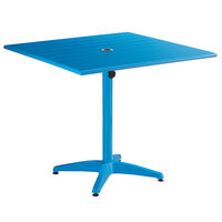 Lancaster Table & Seating 36 inch x 36 inch Blue Powder-Coated Aluminum Dining Height Outdoor Table with Umbrella Hole