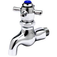 T&S B-0708 Self Closing Single Sink Faucet with 1/2 inch NPT Male Inlet, 4 Arm Handle, and Blue Index