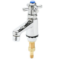 T&S B-0711 Self Closing Single Basin Faucet with 1/2 inch NPS Male Shank, 4 Arm Handle, and Blue Index
