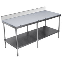Advance Tabco SPS-309 Poly Top Work Table 30 inch x 108 inch with Undershelf and 6 inch Backsplash