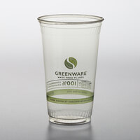 Fabri-Kal GC24 Greenware 24 oz. Compostable Printed Plastic Cold Cup - 600/Case